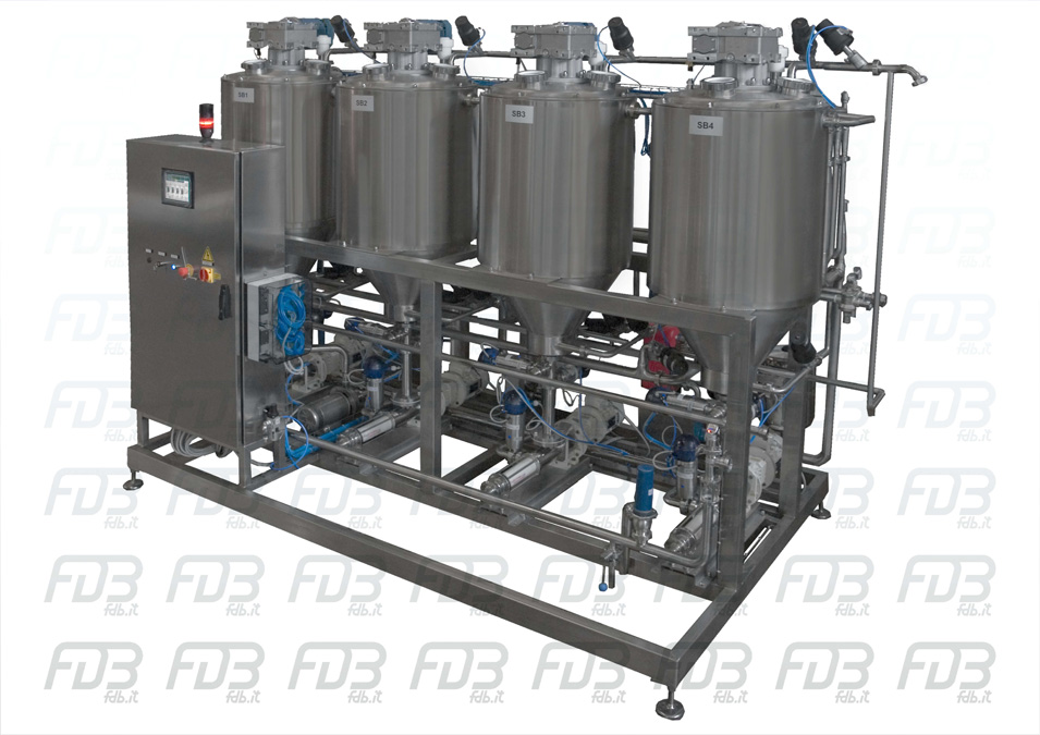 Pasteurizer batch (four tank)for cream, butter and other dairy product in stainless steel. FDB FDBitalia